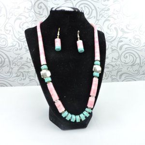 Jewelry - Pink & Turquoise Beaded Necklace Earrings Set
